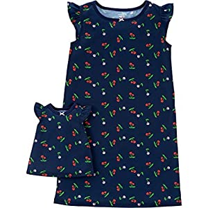 Carter's Girls' 4-14 Jersey Gown and Doll Dress Set (12-14/Cherries)
