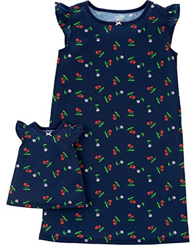Carter's Girls' 4-14 Jersey Gown and Doll Dress Set (8-10/Cherries)