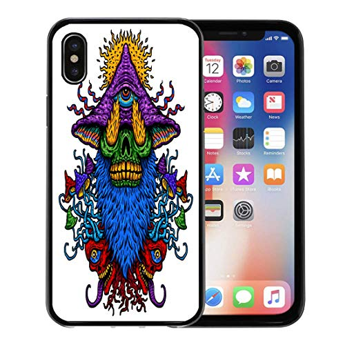 Emvency Phone Case for Apple iPhone Xs Case/iPhone X Case,Black Abstract of Psychedelic Magic Mushroom Third Eye Fire Soft Rubber Border Decorative, Black -