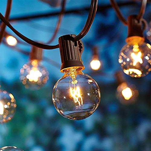 50Ft Outdoor Patio String Lights with 50 Clear Globe G40 Bulbs,UL Certified for Patio Porch Backyard Deck Bistro Gazebos Pergolas Balcony Wedding Gathering Parties Markets Decor, Brown Wire