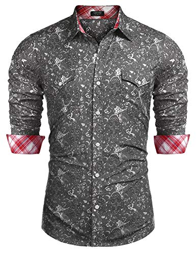 COOFANDY Mens Floral Dress Shirt Slim Fit Casual Paisley Printed Shirt Long Sleeve Button Down Shirts,Grey,X-Large