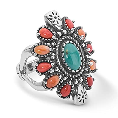 925 Silver Sz 5 Thru 10 Gemstone Green Turquoise, Red & Orange Spiny Oyster Cluster Ring