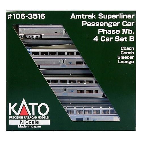 AMTRAK SUPERLINER 4-CAR SET PHASE IVB - READY TO RUN -- SET - Superliner Set