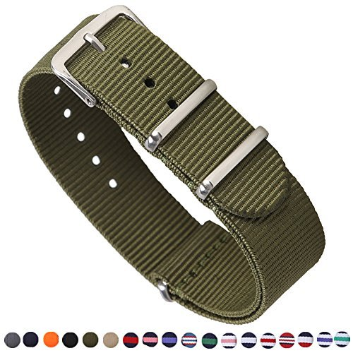 Tool Time Dakota - Premium Canvas Fabric Watch Bands Ballistic Nylon Straps Width,Army Green,18mm