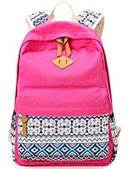Minch Polka Dot Laptop Backpack- professional Canvas 14 School napsack college Backpack (Pink)