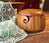 LIFYFUN Bamboo Yarn Bowl Knitting Accessories Yarn Holder Crochet Accessories Knitting Bowl (6'' x 6'' x 4.3'')