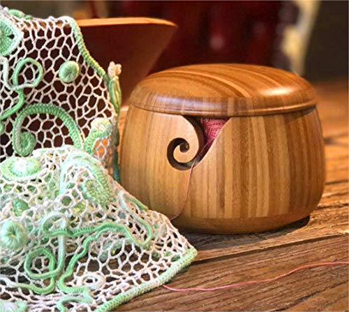 "Trusafe Bamboo Yarn Bowl Knitting Accessories Yarn Holder Crochet Accessories Knitting Bowl (9"" x 9"" x 6.3"")"