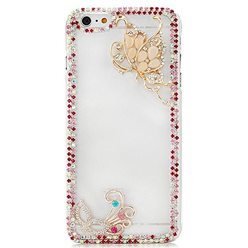 - STENES iPhone 6 Plus Case, Luxurious Crystal 3D Handmade Sparkle Diamond Rhinestone Cover With Retro Bowknot Anti Dust Plug - Fairy Butterfly Mask Flowers