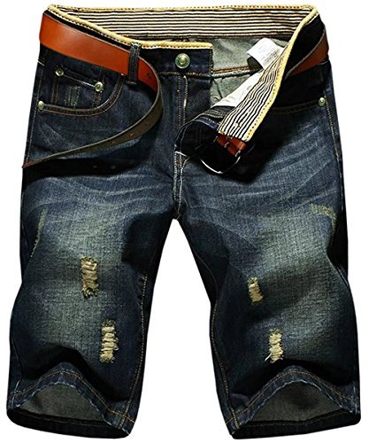 HENGAO Men's Vintage Ripped Holes Mid Rise Denim Jeans Flat Front Beach Board Shorts by HENGAO