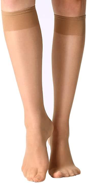 MANZI 12 Pairs Lady's Sheer Knee High Stockings (6 Pairs Black,6 Pairs Nude)