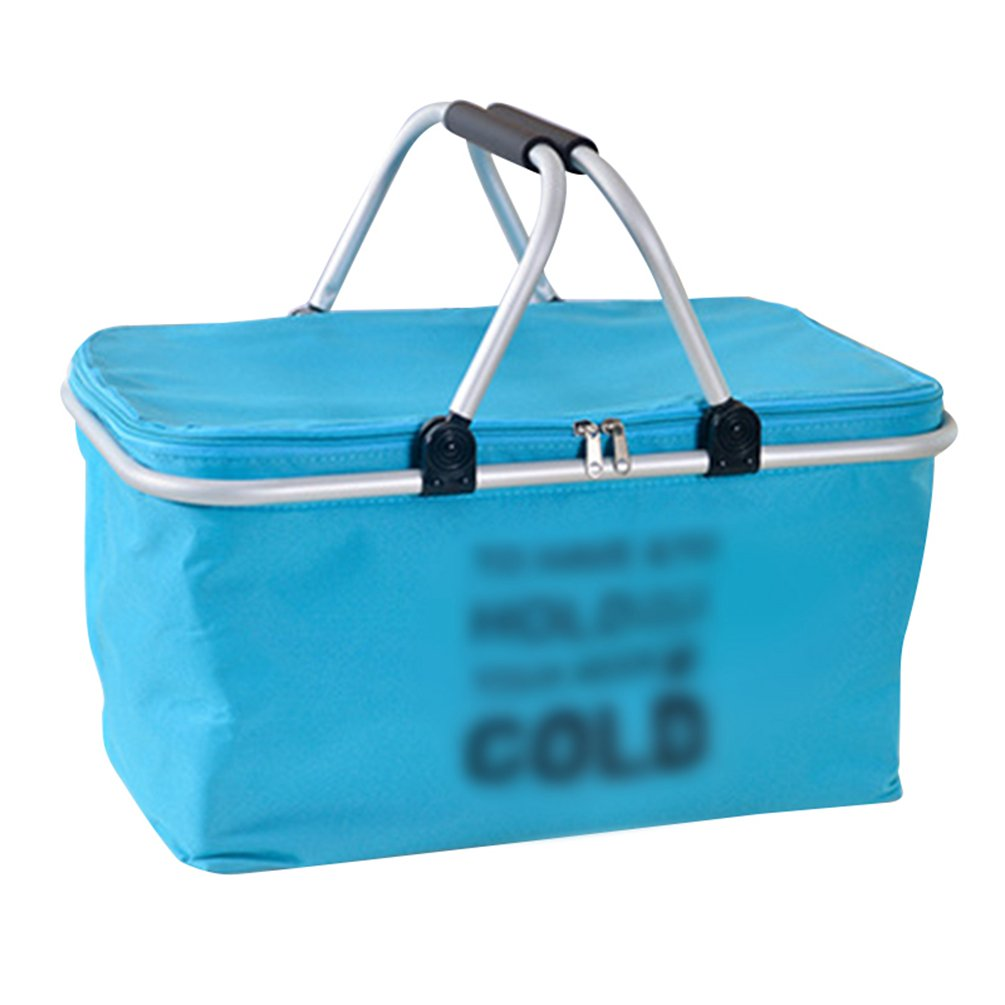 Dexinx Cooler Bag Tote Insulated Lunch Bag Thermal Basket for Camping Picnic Blue 48*28*24cm