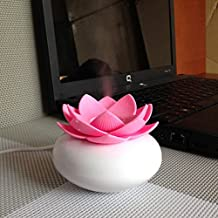 YJY 100mL Lotus Aromatherapy Essential Oil Diffuser Humidifier - USB Silent Ultrasonic Waterless Auto Shut-off Air Humidifier Purifier Oxygen Therapy - Plastic Red
