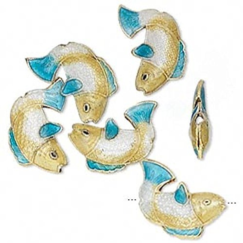 s & Enamel Blue Cloisonn_ Fish Beads for Jewelry Making, Supply for DIY Beading Projects ~ 18x14x4mm (Gold Enamel Fish)