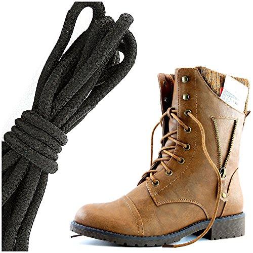 Dailyshoes Womens Militaire Lace Up Gesp Combat Boots Rits Sweater Enkel Hoge Exclusieve Creditcard Pocket, Effen Zwart Tan Pu
