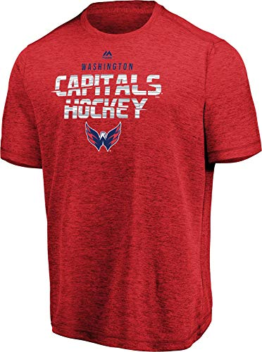 Majestic NHL Men's Off The Post Cool Base Performance T-Shirt (Washington Capitals, X-Large)