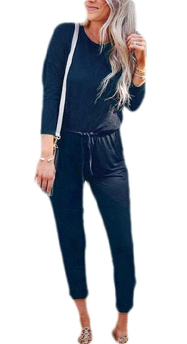 WSPLYSPJY Womens Casual Long Sleeve Round Neck Plain Jumpsuit Pants