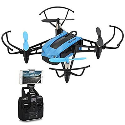 FPV Quadcopter Drone with 720P HD WiFi Camera and VR, Mini Racing Drone 2.4GHz RC Quadcopter with Height Hold, 30mph High Speed Mode, Headless Mode with 6-Axis Gyro by FidgetKit by HELIWAY