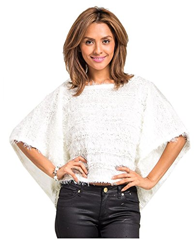 G2 Chic Women's Draped Ribbon Knitted Poncho Sweater(TOP-SWT,OWH-M)