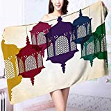 Organic Cotton Luxury Bath Towel Collection Antique Colorful Arabian Lantern Hang on Sky Traditional Islamic Art Design Purple Excellent Water Absorbent Antistatic