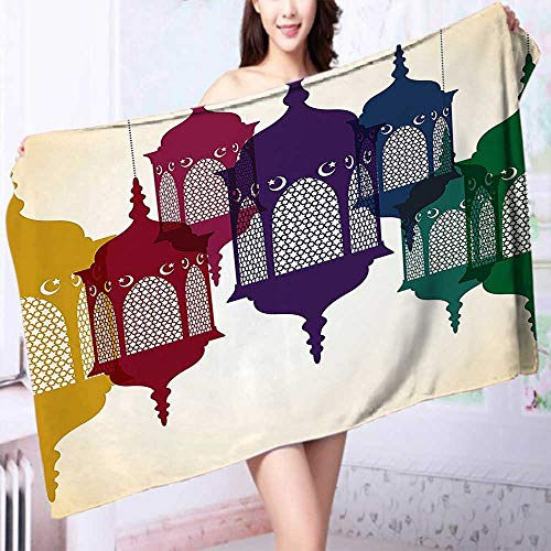 Organic Cotton Luxury Bath Towel Collection Antique Colorful Arabian Lantern Hang on Sky Traditional Islamic Art Design Purple Excellent Water Absorbent Antistatic by PRUNUS