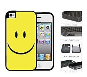Cute Happy Yellow Smiley Face 2-Piece High Impact Dual Layer Black Silicone Cell Phone Case iPhone 4 4s by runtopwell