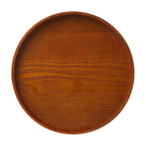 Gold Happy Round Wood Serving Tray Wooden Coffee Tea Tray Food Drink Breakfast Serving Tray Platter Large Snack Fruit Plate Dishes 3 Sizes -
