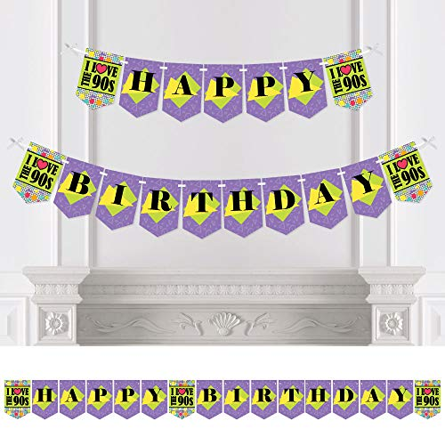 Big Dot of Happiness 90's Throwback - 1990s Birthday Party Bunting Banner - Birthday Party Decorations - Happy -