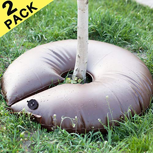cyrico Tree Watering Ring 2 Pack 15 Gallon PVC Watering Bag for Trees Slow Release Tree Watering Bag for Shrubs Evergreens and Newly Planted Trees (5-8 Hours Releasing Time)