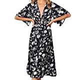 Spbamboo Womens Chiffon Flora Print Half Sleeve Print Tank Short Mini Dress
