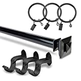 HPD Half Price Drapes HDW-KHSBS-52-144 Stacked Square Rod Expandable Curtain Hardware Set, Black