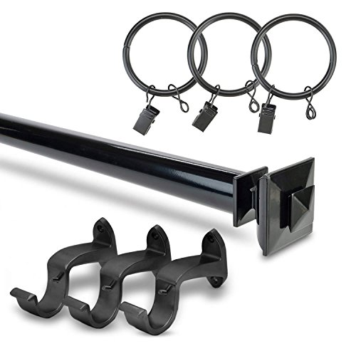 HPD Half Price Drapes HDW-KHSBS-52-144 Stacked Square Rod Expandable Curtain Hardware Set, Black by HPD Half Price Drapes