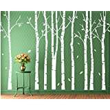 White Birch Tree Wall Decal-Large Birch Tree Sticker Nursery-Set of 9 White Tree Art-White Tree Decal-Vinyl Family Tree Wall Decal Bedroom