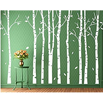Attrayant Set 9 Birch Tree Wall Decal Forest Nursery Living Room Decor White Tree  Wall Decal Wall