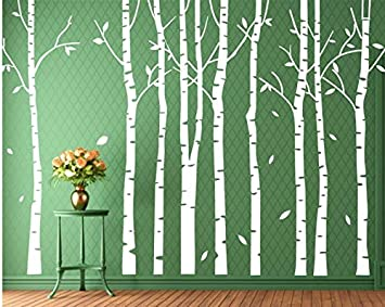 Set 9 Birch Tree Wall Decal Forest Nursery Living Room Decor White Tree  Wall Decal Wall