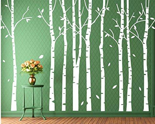 designyours Set 9 Birch Tree Wall Decal Forest Nursery Livin