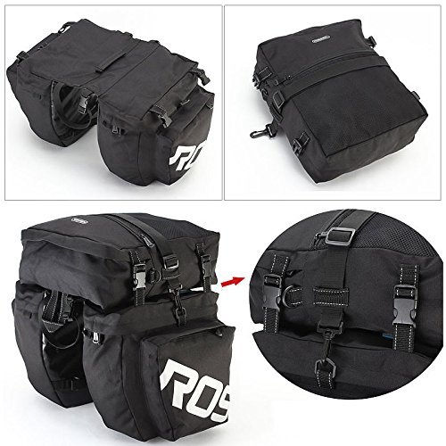 COCO Bike Panniers Waterproof Bag - 3 in 1 Multi Function Messenger Panniers for Bicycles, Bicycle Rear Seat Trunk Bag, Bicycle Saddle Bag for Mountain Cycling (Black) by COCO (Image #4)