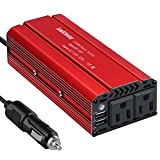 Leadchuang 500 Watt Power Inverter, Auto Inverter DC 12V to AC 110V Car Power Converter with 2 AC Outlets & 4.8A Dual USB Charging Ports & Alligator Clips Durable Inverter