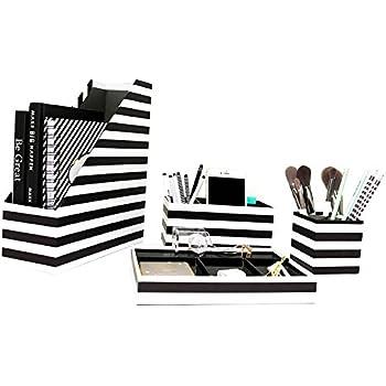 Black Desk Accessories Organizer Set 3 Piece