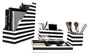Blu Monaco Black and White Desk Organizer - 4 Piece Desk Accessories Set - Letter - Mail Organizer, Sticky Note Holder, Pen Cup, Magazine File Holder - Black and White Stripes