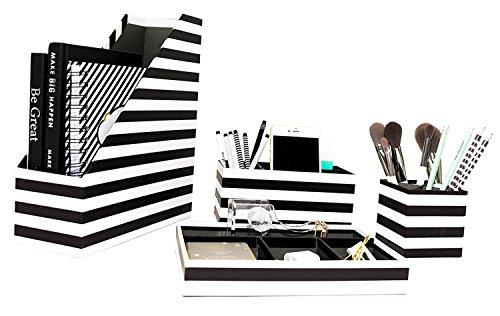 Blu Monaco Desk Black White Desk Accessories Organizer Set - 4 Pcs Set - Fun, Stylish Horizontal Stripes Design - Stores Magazine, File Folders, Mails, Bills, Office or Beauty Supplies