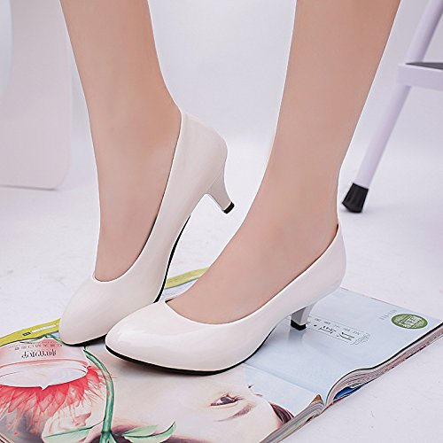 shoes with thin heeled ZHZNVX women Autumn casual shoes White light of satin new shoes high single shoes fashion the the qK7wFP8R7