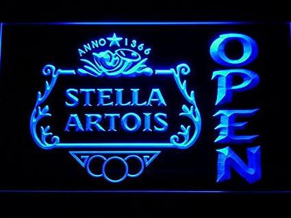 Amazon Com Stella Artois Beer Open Bar Led Neon Light Sign Man Cave
