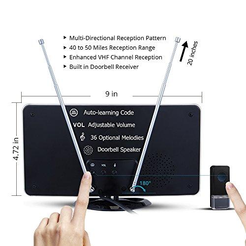 TV Antenna HDTV Antenna Indoor Miles Long Built-in Wireless Chime Alert 1 Design