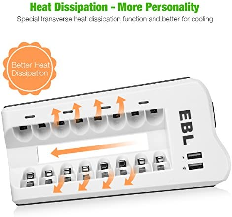 EBL 8 Slot Battery Charger with 8 Packs AAA Rechargeable Batteries 1.2V Ni-MH AAA Battery - Individual Charger and Battery Combo