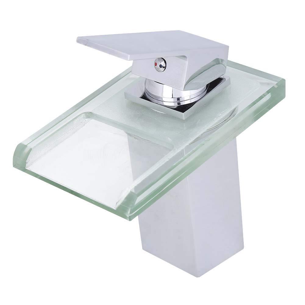 Garosa LED Water Sink Faucet Brass Single Handle Water Power Mixer Tap Open Channel Waterfall Spout Basin Faucet
