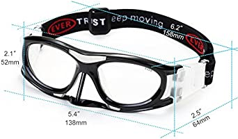 312fa0f992 EVERSPORT Protective Sports Goggles Safety Basketball Glasses for Adults  with Adjustable Strap for Basketball Football Volleyball. Loading Images.