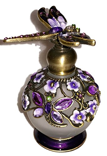 Welforth Dragonfly Lavender & Purple Flower Enamel Crystal Perfume (Dragon Perfume Bottle)