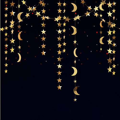 Star Garland Decoration (Reflective Glitter Star and Moon Garland Kit Star Garands/Streamers/Bunting Banner for Party Hanging Decoration ... (Gold Star Moon Garland)