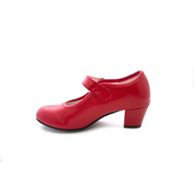 MADE IN SPAIN Zapato Baile sevillanas Flamenco Lunares Blancos Para Niña o Mujer Danka EN Rojo T1551 Talla 32 6Q0Z77