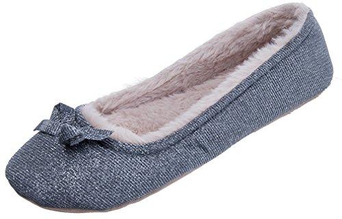 Mixin Womens Ballerina Comode Pantofole Calde E Morbide Al Coperto Balletto Grigio